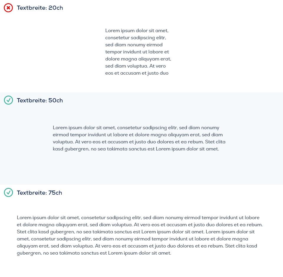 Verschiedene Textbreiten im Vergleich