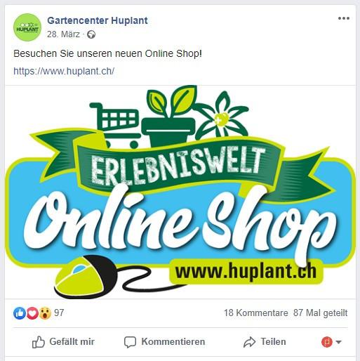 Facebook-Post von Huplant für das neue Bestellformular.